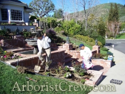 Professional landscaping crew working in Camarillo, California